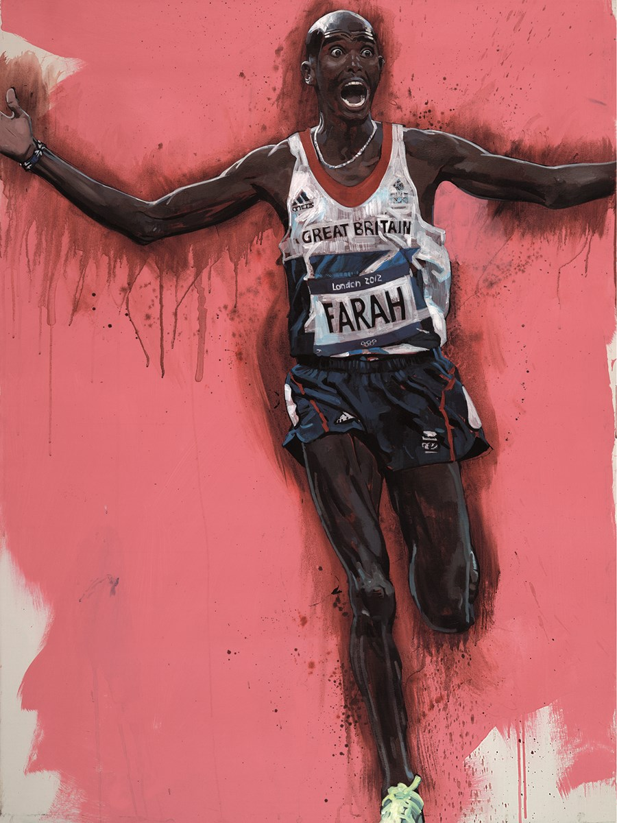 Mo Farah by Zinsky -  sized 12x16 inches. Available from Whitewall Galleries